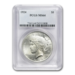 1922-1925 Peace Silver Dollar Date Set - 4 Coins - MS-64 PCGS