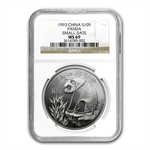 1993 Silver Chinese Pandas 1 oz - MS-69 NGC - (Small Date)