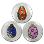 Cook Islands 2012 Silver Imperial Eggs in Cloisonné -3 Coin Set