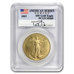 2003 1 oz Gold American Eagle MS-69 PCGS Tommy Franks Label