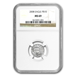 1997-2008 1/10 oz Platinum American Eagle Set NGC MS-69