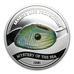 Palau 2012 Silver $5 Mystery of the Sea - Green Freshwater Pearl