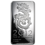 2012 Year of the Dragon 10 oz Silver Bar .999 Fine