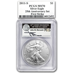 2011 Silver Eagle 25th Anniv Set MS/PR-70 PCGS (FS) John Mercanti