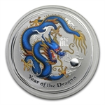 2012 Year of the Dragon 1 oz Colorized 10 Coin Silver Set