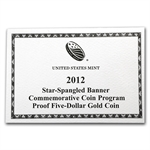 2012-W Star Spangled Banner - $5 Gold Commemorative - Proof