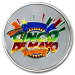1 oz Cinco De Mayo Enameled Silver Round (w/Box & Cap)