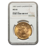 1907 $20 St. Gaudens Gold Double Eagle - MS-66 NGC