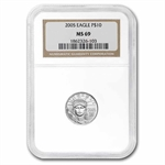 2005 1/10 oz Platinum American Eagle MS-69 NGC