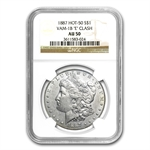 1887 Morgan Dollar AU-50 NGC VAM-1B Partial E Reverse Hot-50