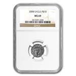 2008 1/10 oz Platinum American Eagle MS-69 NGC