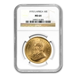 1970 1 oz Gold South African Krugerrand MS-64 NGC