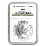 2007 1 oz Silver Canadian Maple Leaf MS-69 NGC