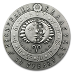 Belarus 2009 Oxidized Silver 20 Rubles Zodiac Signs - Aries
