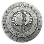 Belarus 2009 Oxidized Silver 20 Rubles Zodiac Signs -Virgo