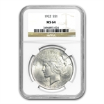1922-1925 Peace Silver Dollar Date Set - 4 Coins - MS-64 NGC