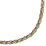 Diamond Cut Rope Sterling Silver Bi-Color Necklace - 24 in