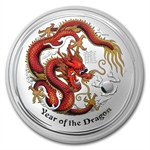 2012 5 oz Silver Australian Year of the Dragon Colored w/Red Box