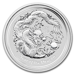 2012 2 oz Silver Australian Lunar Year of the Dragon w/Red box
