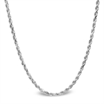 Diamond Cut Rope 14k White Gold Necklace - 24 in.