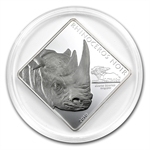 Cameroon 2010 2 oz Silver 1,500FR - Ruthenium Plated Black Rhino