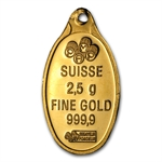 2.5 Gram Gold Oval .999+ Fine (Mint varies/No Assay)