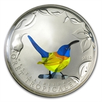 Togo 2010 Proof Silver Rainforest Wildlife - Blue Sunbird Prism