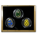 Cook Islands 2010 Silver Imperial Eggs in Cloisonné -3 Coin Set