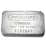 10 oz Engelhard Silver Bar (Wide, Struck, Frosted Back) .999 Fine