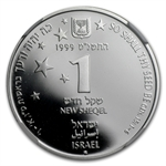 1999 Israel Stars/ Holy Land Proof-Like Silver 1 NIS MS-69 NGC