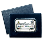 1 oz Happy Birthday Stars Enameled Silver Bar (w/Gift Box & Cap)