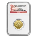 2012 1/4 oz Gold Lunar Year of the Dragon (Series II) NGC MS-70