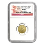 2012 1/10 oz Gold Lunar Year of the Dragon (Series II) NGC MS-70