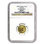 2000 (1/10 oz) Gold Chinese Pandas - (Frosted) MS-69 NGC