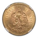 Mexico 1921 50 Peso Gold Coin MS-62 NGC