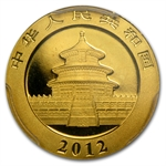2012 (1/10 oz) Gold Chinese Panda - MS-70 PCGS First Strike