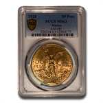 Mexico 1924 50 Pesos Gold PCGS MS-63 (Secure Plus!)