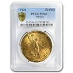 Mexico 1926 50 Peso Gold MS-63 PCGS (Secure Plus!)