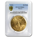 Mexico 1929 50 Pesos Gold Coin - MS-63 PCGS (Secure Plus!)