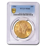1904 $20 Gold Liberty Double Eagle - MS-66 PCGS