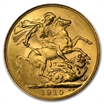 Australia 1910-S Gold Sovereign Edward VII AU
