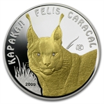 Kazakhstan 2009 Proof Silver 100 Tenge Endangered Animal- Caracal