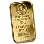 10 gram UBS Gold Bar (No assay card) .9999 Fine