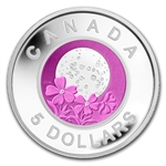 2012 Silver & Niobium Canadian $5 Full Pink Moon (W/Box & COA)