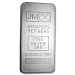10 oz Johnson Matthey Silver Bar (Pressed, Plain Back)