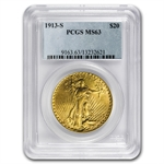 1913-S $20 St. Gaudens Gold Double Eagle - MS-63 PCGS