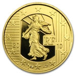 2010 1/25 oz Gold Proof - The Sower - Anniv. of the New Franc