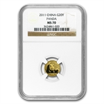 2011 (1/20 oz) Gold Chinese Panda - MS-70 NGC