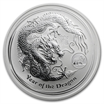 2012 1 oz Silver Australian Year of the Dragon Coin (Lion Privy)