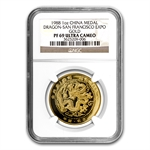 China 1988 1 oz Gold Dragon Medal San Francisco Expo PF-69 NGC